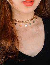 Fashion Gold Color Stars Decorated Pure Color Simple Choker