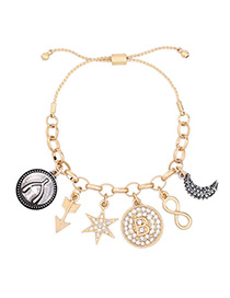 Trendy Gold Color Anchor&moon Pendant Decorated Bracelet