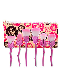 Trendy Rose Gold Flower Shape Decorated Makeup Brush(6pcs)