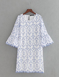 Trendy Blue Embroidery Flower Decorated Long Sleeves Dress