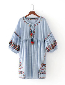 Trendy Blue Embroidery Flower Decorated Puff Sleeves Dress