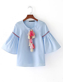 Trendy Light Blue Tassel Decorated Three-quarter Sleeves Shirt