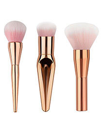 Trendy Rose Gold Pure Colo Decorated Makeup Brush(3pcs)
