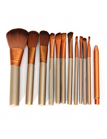 Trendy Coffee Pure Colo Decorated Makeup Brush(12pcs)