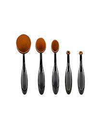 Trendy Black Toothbrush Shape Decorated Makeup Brush(5pcs)