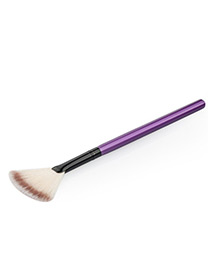 Trendy Purple Sector Shape Decorated Simple Makeup Brush(1pc)