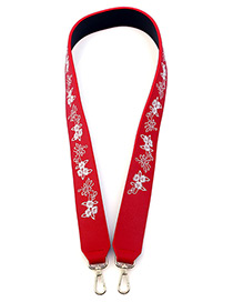 Fashion Red Embroidery Flower Decorated Simple Bag Strap