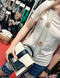 Fashion White Rivet&flower Decorated Pure Color Bag Strap