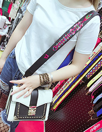 Fashion Black Embroidery Tree Decorated Pure Color Bag Strap