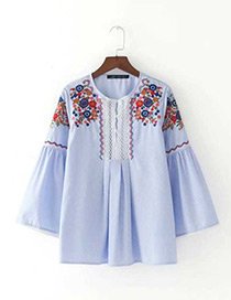Fashion Light Blue Embroidery Flower Decorated Long Sleeves Blouse