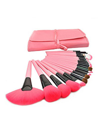 Trendy Pink Sector Shape Decorated Simple Makeup Brush(24pcs With Bag)
