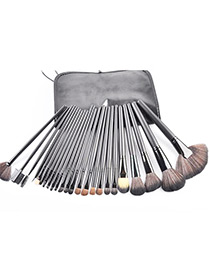 Trendy Black Sector Shape Decorated Makeup Brush(1pc)(24pcs With Bag)