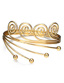 Fashion Gold Color Spiral Shape Decorated Pure Colr Bracelet