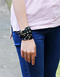 Trendy Black Buckle&rivet Decorated Simple Bracelet