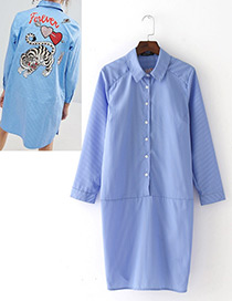 Fashion Blue+white Embroidery Tiger Shape Decorated Simple Dress