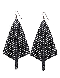 Fashion Black Sequins Decorated Pure Color Simple Earrings