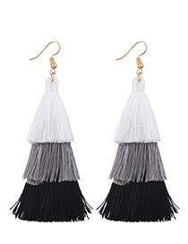 Fashion Black+white+gray Tassel Decorated Color Mathing Simple Earrings