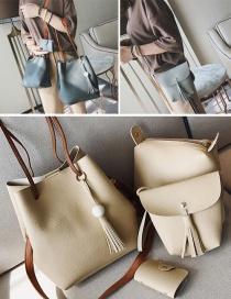 Fashion Khaki Tassel Decorated Pure Color Shoulder Bag(4pcs)