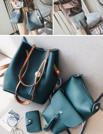 Fashion Green Tassel Decorated Pure Color Shoulder Bag(4pcs)