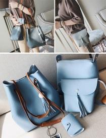 Fashion Blue Tassel Decorated Pure Color Shoulder Bag(4pcs)