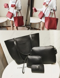 Fashion Black Pure Color Decorated Shoulder Bag(4pcs)