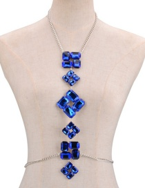 Fashion Blue Diamond Decorated Simple Body Chain