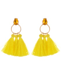 Bohemia Yellow Round Shape Decorated Tassel Earrings