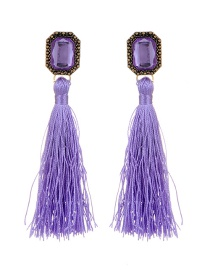 Bohemia Purple Square Diamond Decorated Tassel Earrings