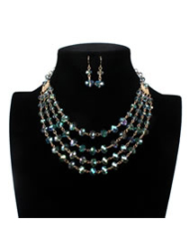 Luxury Green Oval Shape Decorated Multilayer Jewelry Sets