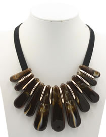 Exaggerate Coffee Strip Shape Decorated Necklace