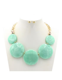 Exaggerate Green Round Shape Decorated Jewelry Sets