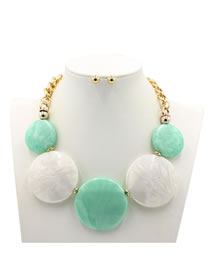 Exaggerate Green+white Round Shape Decorated Jewelry Sets
