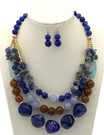 Exaggerate Blue Irregularity Shape Decorated Jewelry Sets