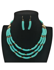 Fashion Light Blue Pure Color Decorated Jewelry Sets