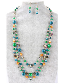 Fashion Green Color-matching Decorated Jewelry Sets