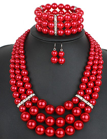 Exaggerate Red Round Shape Diamond Decorated Jewelry Sets (With Bracelet)