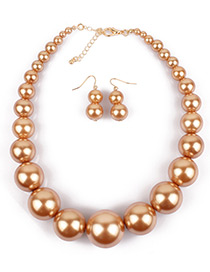 Exaggerate Gold Color Big Round Shape Decorated Jewelry Sets