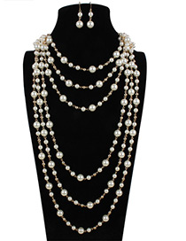 Elegant White Pure Color Decorated Multilayer Long Jewelry Sets