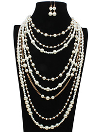 Fashion White Chain Decorated Jewelry Sets