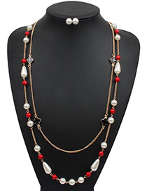 Elegant Red Oval Shape Decorated Double Layer Jewelry Sets