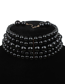 Elegant Black Pure Color Decorated Multilayer Choker