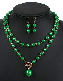 Fashion Green Hollow Out Decorated Jewelry Sets