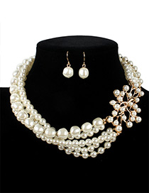 Vintage White Branch Shape Decorated Jewelry Sets