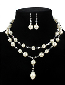 Vintage White Oval Shape Decorated Double Layer Jewelry Sets