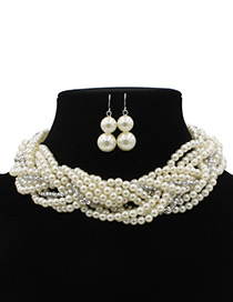 Elegant White Pearls Decorated Simple Jewelry Sets