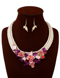 Elegant Red Flower Shape Decorated Jewelry Sets