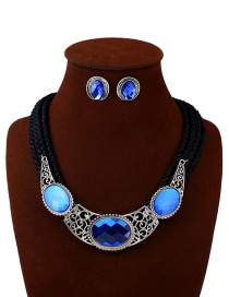 Vintage Blue Round Shape Decorated Jewelry Sets