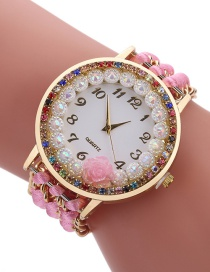 Fashion Pink Diamond Decorated Flower Shape Pure Color Watch