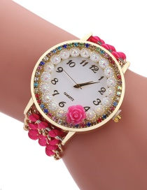 Fashion Plum Red Diamond Decorated Flower Shape Pure Color Watch
