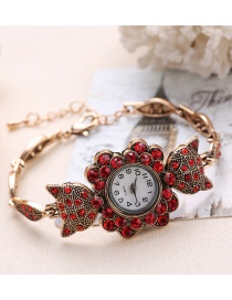 Fashion Red Diamond Decorated Fox Shape Pure Color Watch
